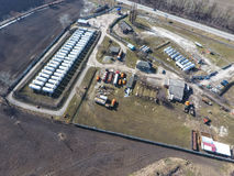 Top view of a small tank farm. Storage of fuel and lubricants. Top view of a small tank farm. Storage of fuel and lubricants royalty free stock photography