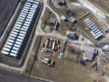 Top view of a small tank farm. Storage of fuel and lubricants. Top view of a small tank farm. Storage of fuel and lubricants stock photos