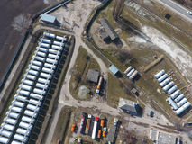 Top view of a small tank farm. Storage of fuel and lubricants. Top view of a small tank farm. Storage of fuel and lubricants royalty free stock photos