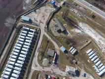 Top view of a small tank farm. Storage of fuel and lubricants. Top view of a small tank farm. Storage of fuel and lubricants stock images