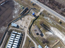 Top view of a small tank farm. Storage of fuel and lubricants. Top view of a small tank farm. Storage of fuel and lubricants stock photography