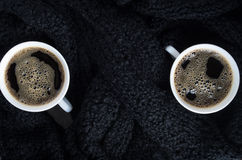 Top view of a small white cups of coffee Stock Photo