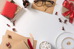 Top view of small wooden figures scattered on the desk Stock Photos