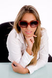 Top view of smiling female wearing sunglasses Stock Photos