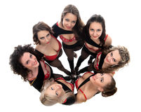 Top view of smiling pretty dancers, close-up Stock Photo