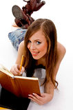 Top view of smiling woman studying Stock Photos