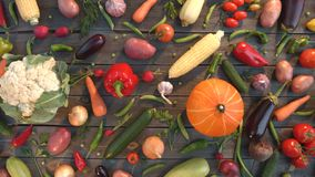Vegetable mix on the table. Top view. The smooth glide of the camera  from right to left  along the old village table with a variety of vegetables stock footage