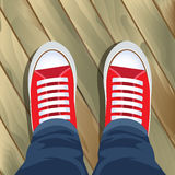 Top view on sneakers Stock Images