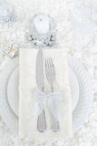 Top view snow christmas table setting Stock Image