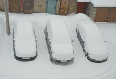 Top view of snow covered cars Royalty Free Stock Image
