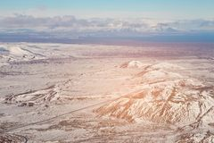 Top view snow covered mountain Iceland. Natural landscape background Stock Images