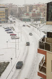 Top view of a snow-covered street in the center of Pomorie, Bulgaria royalty free stock image