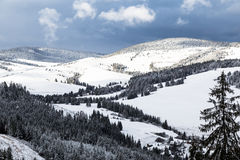 Top view of snow covered valley Stock Photography