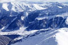Top view on snowy mountains and off-piste slope Royalty Free Stock Photography