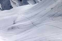 Top view on snowy off piste slope with trace from ski and snowbo Stock Images