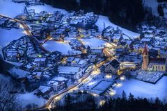 Top view on snowy village luesen valley at night south tirol It stock photo