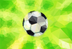 Top view of soccer ball. On football field - Vector illustration in triangular style Stock Photos