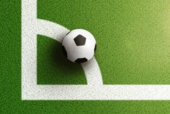 Top view of soccer ball on corner arc line of soccer field. Top view of soccer ball on white corner arc line of soccer field Royalty Free Stock Photos