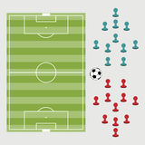 Top view of soccer field or football field with player pin vecto Stock Photography