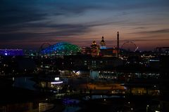 Top view of Sochi Park Fisht stadium with a hotel and slides stock images