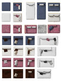 Top view of sofa collection with pillows. Top view of sofa collection on white background. Colors they come in are red, blue white and brown. They can be cutted stock images