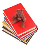 Top view of soft toy bear sits on books. Isolated on white background Stock Images