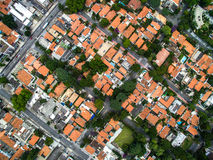 Top view of some houses in Sao Paulo, Brazil.  Royalty Free Stock Photo