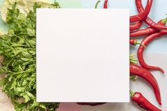 Top view of some red chilli pepper with square frame on top of soft color surface copy space concept f. Top view of some red chilli pepper with square frame on royalty free stock image