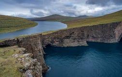 Sorvagsvatn lake over the ocean in Faroe Islands