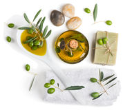 Top view of spa accessories and olives Stock Image