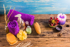 Top view spa aromatherapy A series of Spa aroma therapy on the wooden desk. Aroma Spa is a relaxing way to relieve stress. With the scent of essential oils The Stock Photography