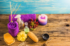 Top view spa aromatherapy A series of Spa aroma therapy on the wooden desk. Aroma Spa is a relaxing way to relieve stress. With the scent of essential oils The Royalty Free Stock Images