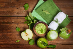 Top view of a spa concept with green apple Royalty Free Stock Photos