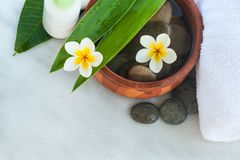 Top view of spa objects and stones for massage treatment royalty free stock photography
