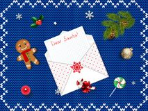 Top view with space for your xmas wishes. Christmas greeting card, decor, candies, gingerbread man, fir tree, holy, bubble. Top view with space for your xmas Royalty Free Stock Photo