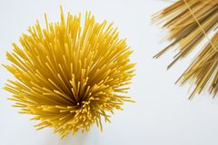 Top view spaghetti, against white background royalty free stock photo