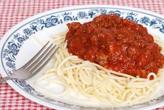 Top view spaghetti with meat sauce Stock Photos