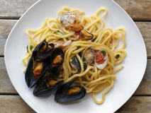 Top view spaghetti pasta with seafood dish. Top view of spaghetti pasta with seafood dish Royalty Free Stock Photo