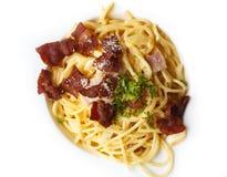 Top view of spaghetti royalty free stock photo