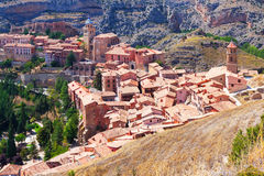 Top view of spanish mountains town Royalty Free Stock Photos