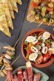 Flat lay spanish tapas appetizers stock photos
