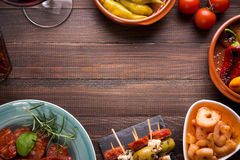 Top view of spanish tapas starters Royalty Free Stock Photography