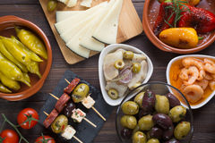Top view of spanish tapas starters Stock Photos