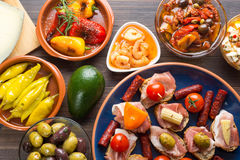 Top view of spanish tapas starters Royalty Free Stock Photos