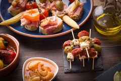 Top view of spanish tapas starters Royalty Free Stock Image