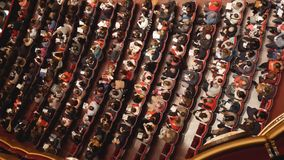 Top view of the spectators of the theater before the performance. NEW YORK, USA- DECEMBER 2017: top view of the spectators of the theater before the performance stock image