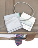 Top view of sphygmometer on suitcase with ties Royalty Free Stock Photography