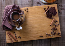 Top view of spiced coffee and spices with copyspace Royalty Free Stock Photography