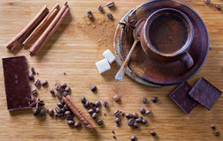 Top view of spiced coffee and spices Royalty Free Stock Photo