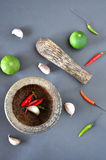 Top View of Spices and Mortar Stock Photography